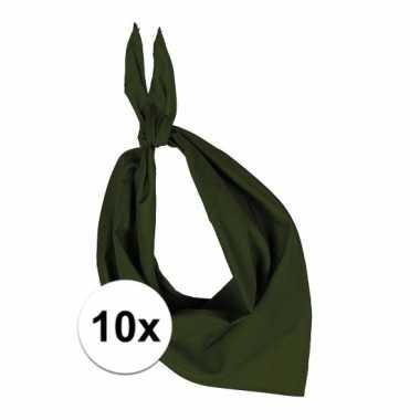 10x bandana zakdoeken olijf groen