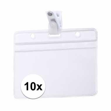 10x beurzen naamkaartjeshouder met klem 11,5 x 9,2 cm