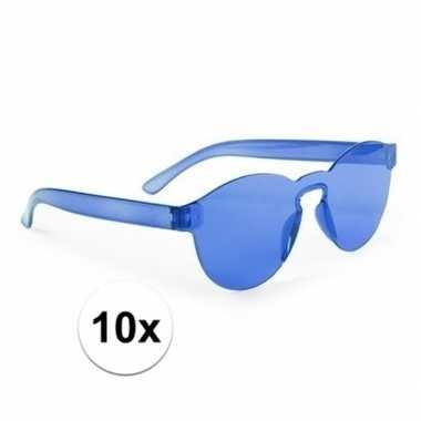 10x blauwe partybril voor volwassenen