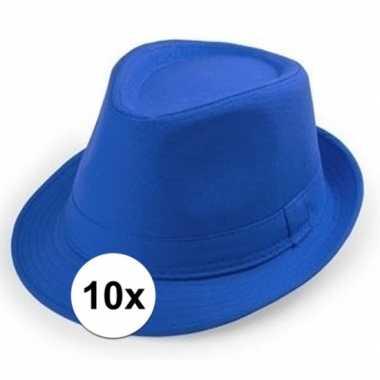 10x blauwe trilby hoedjes voor volwassenen