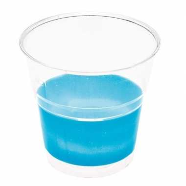 10x blauwe wegwerp drinkbekers plastic