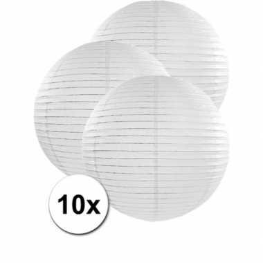 10x bolvormige bruiloft lampionnen wit van 50 cm