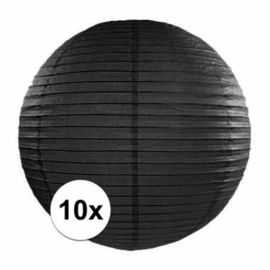 10x bolvormige lampionnen zwart 35 cm