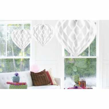 10x bruiloft versiering decoratie hartjes wit