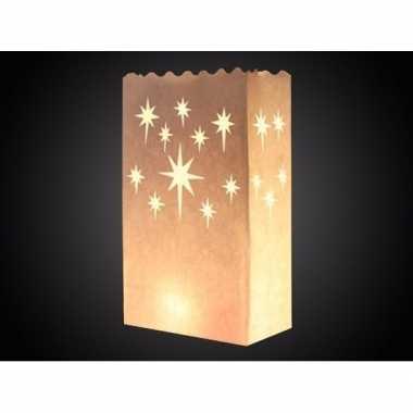 10x candle bags met sterren print 26 cm