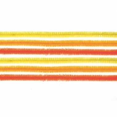 10x chenilledraad mix geel/oranje 50 cm