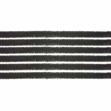 10x chenilledraad zwart 50 cm