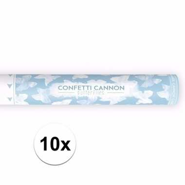 10x confetti knaller witte vlinder 40 cm