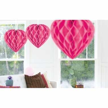 10x decoratie hartjes roze van 30 cm