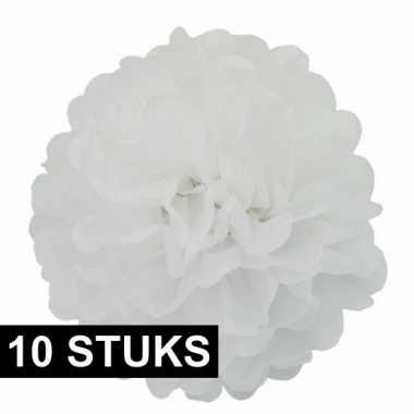 10x decoratie pompom wit 35 cm