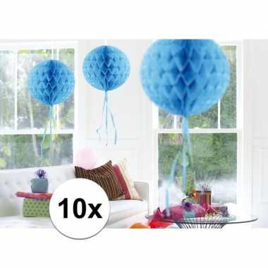 10x decoratiebollen baby blauw 30 cm