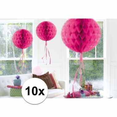 10x decoratiebollen fel roze 30 cm