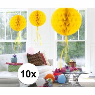 10x decoratiebollen geel 30 cm