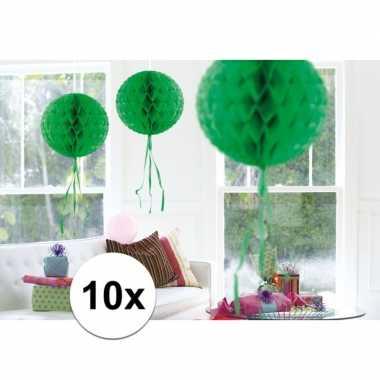 10x decoratiebollen groen 30 cm