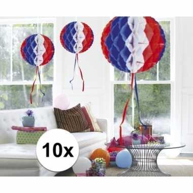 10x decoratiebollen in amerikaanse kleuren
