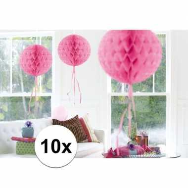 10x decoratiebollen licht roze 30 cm