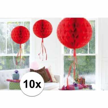 10x decoratiebollen rood 30 cm
