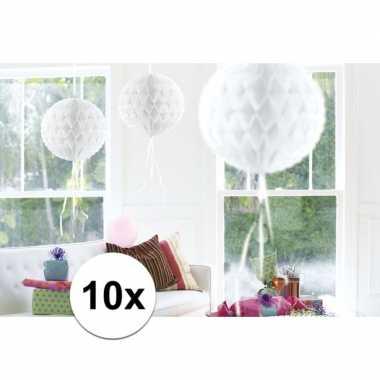 10x decoratiebollen wit 30 cm