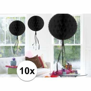 10x decoratiebollen zwart 30 cm