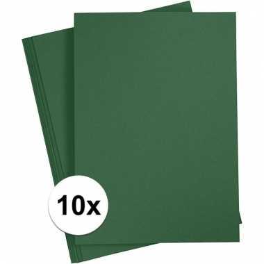 10x donkergroen knutsel karton a4
