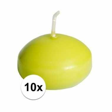10x drijfkaarsen lime groen decoratie/versiering