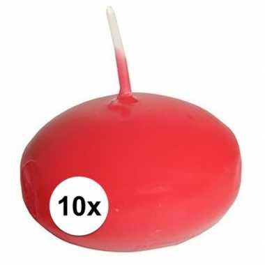 10x drijfkaarsen rood decoratie/versiering