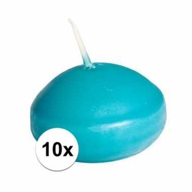 10x drijfkaarsen turquoise decoratie/versiering