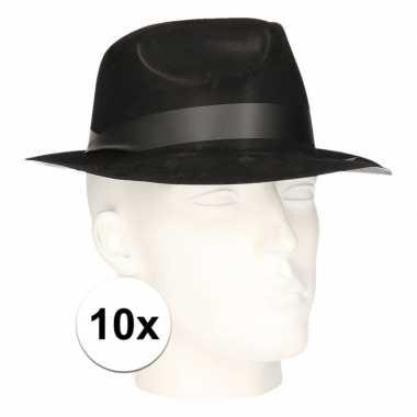 10x feest hoedjes maffia zwart voor volwassenen
