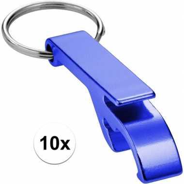 10x flesopener sleutelhanger blauw