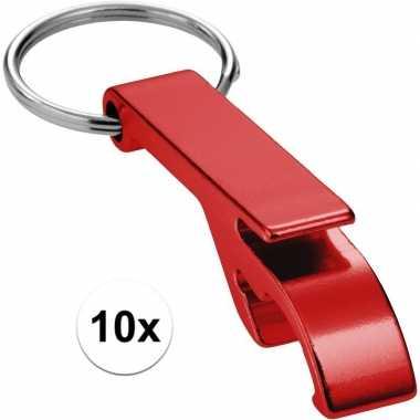 10x flesopener sleutelhanger rood