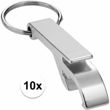 10x flesopener sleutelhanger zilver