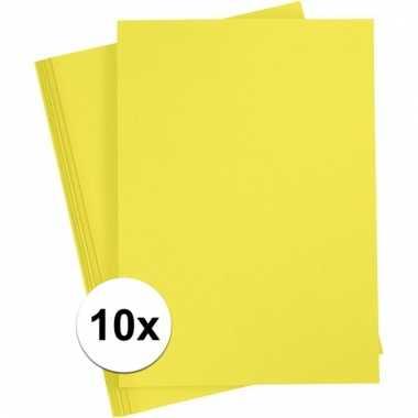 10x geel knutsel karton a4