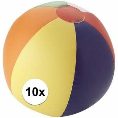 10x gekleurde opblaas strandbal