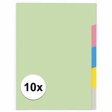 10x gekleurde tabbladen a4 met 5 tabs