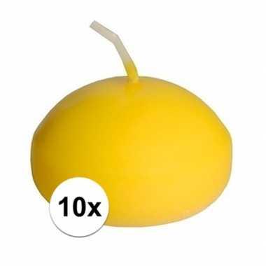 10x gele drijvende kaarsen feestartikelen