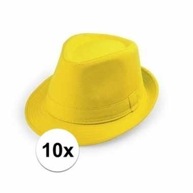 10x gele trilby hoedjes voor volwassenen