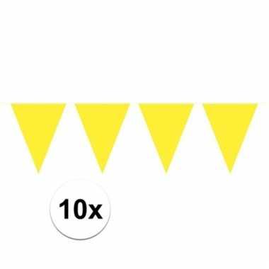 10x gele vlaggenlijnen 10 meter