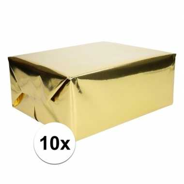 10x goud cadeaupapier metallic 400 x 50 cm