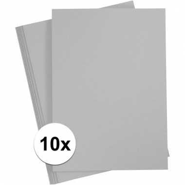 10x grijs knutsel karton a4