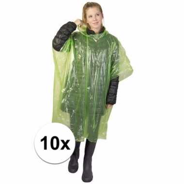 10x groene regen ponchos voor volwassenen