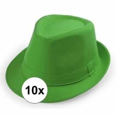 10x groene trilby hoedjes voor volwassenen