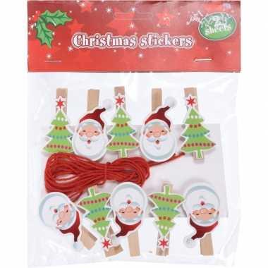 10x kerst decoratie knijpers kerstman/kerstboom met touw