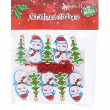 10x kerst decoratie knijpers sneeuwpop/kerstboom met touw