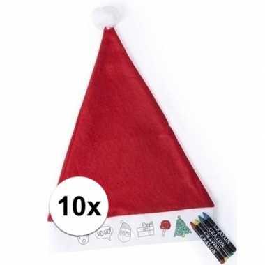 10x kerstmuts kleuren setje met waskrijtjes voor kinderen