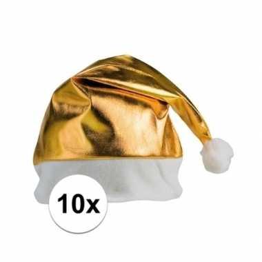 10x kerstmutsen goud voor volwassenen