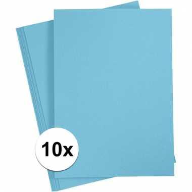 10x lichtblauwe knutsel karton a4