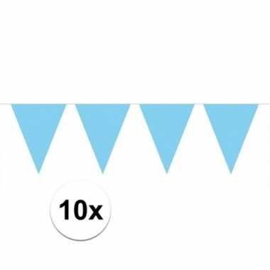 10x lichtblauwe vlaggenlijnen 10 meter