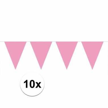 10x lichtroze vlaggenlijnen 10 meter