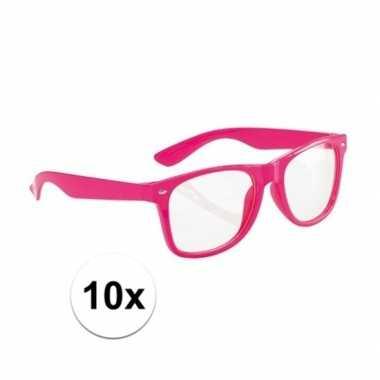 10x neon roze party verkleedbril voor volwassenen