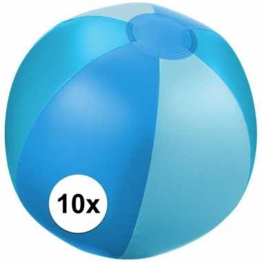 10x opblaas strandbal blauw met lichtblauwe vakken